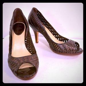 Cole Haan Chocolate Brown Peep-toe Pumps🍫👠